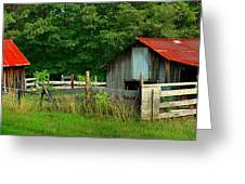 Rural Serenity - Red Roof Barn Rustic Country Rural Greeting Card