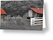 Rural Serenity Black And White Version - Red Roof Barn Rustic Country Rural Greeting Card