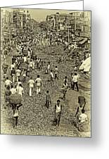 Rush Hour - Antique Sepia Greeting Card