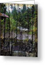 Rushing Cascade In The Andes - On Bark Greeting Card