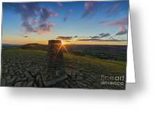 Rushup Edge From Mam Tor Summit Sunset Greeting Card