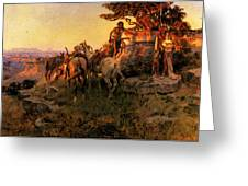 Russell Charles Marion Watching For Wagons Greeting Card