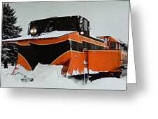 Russell Train Snow Plow Greeting Card