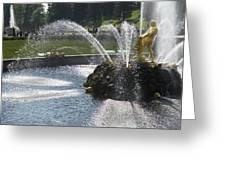 Russia, Samson Fountain At Peterhof Greeting Card