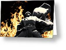 Russian Soldier Statue In Snow And Fire Greeting Card