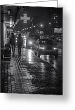 Russian Street Scene At Night 2015 Greeting Card