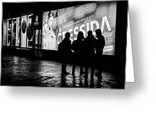 Russian Teens At Night Outside A Shopping Center Greeting Card