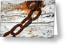 Rusted Chain On Driftwood Greeting Card