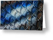 Rusted Fence With Blue Paint Greeting Card