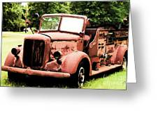 Rusted Mack Fire Engine Greeting Card