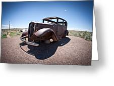 Rusted Old Car On Route 66 Greeting Card