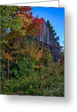 Rustic Barn Above The Fall Colors Greeting Card