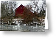 Rustic Barn By The Frozen Lake Greeting Card