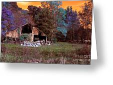 Rustic Barn In Disrepair False Color Infrared Greeting Card