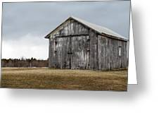 Rustic Barn With Dark Clouds Greeting Card