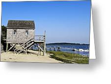 Rustic Boathouse On The Beach. Greeting Card