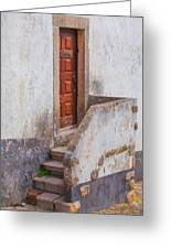 Rustic Brown Door Of Portugal Greeting Card