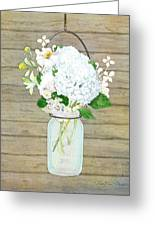 Rustic Country White Hydrangea N Matillija Poppy Mason Jar Bouquet On Wooden Fence Greeting Card