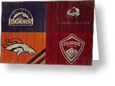 Rustic Denver Sports Teams Greeting Card