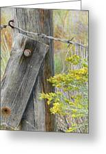 Rustic Fence And Wild Flowers Montana Greeting Card