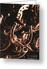 Rustic Horse Shoes Greeting Card