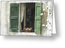 Rustic Open Window With Green Shutters Greeting Card