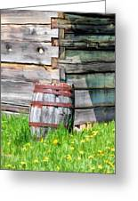 Rustic Rain Barrel At Old World Wisconsin Greeting Card
