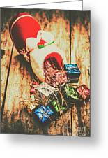 Rustic Red Xmas Stocking Greeting Card