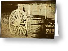 Rustic Wagon And Barrel Greeting Card
