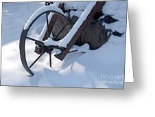 Rustic Wheel In The Snow#2 Greeting Card