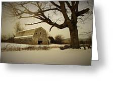 Rustic White Barn In Winter - Boone N.c.  Greeting Card
