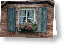 Rustic Window And Red Bricks Wall Greeting Card by Yair Karelic