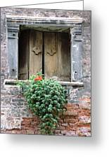 Rustic Wooden Window Shutters Greeting Card