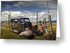 Rusty Auto Wreck Out West Greeting Card