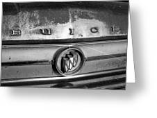 Rusty Buick Emblem Black And White Greeting Card