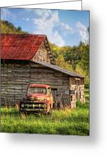 Rusty Ford At The Barn Greeting Card