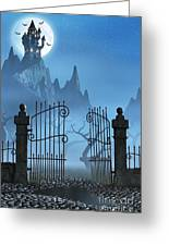 Rusty Gate And A Spooky Dark Castle Greeting Card