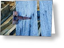 Rusty Hinge In The Blue Of The Evening Greeting Card
