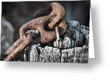 Rusty Iron Chain Railing Fragment Greeting Card