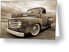 Rusty Jewel In Sepia - 1948 Ford Greeting Card