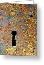 Rusty Key-hole Greeting Card by Carlos Caetano