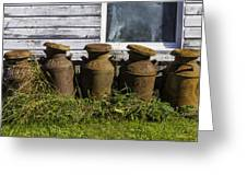 Rusty Milk Cans Greeting Card