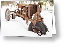 Rusty Old Steel Wheel Tractor In The Snow Tilt Shift Greeting Card