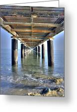 Rusty Pier  On The Ocean  From Below Greeting Card