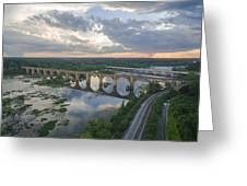 Rva Sunset Train Bridge Style Greeting Card