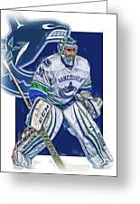 Ryan Miller Vancouver Canucks Oil Art Greeting Card