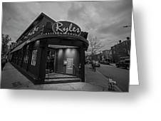 Ryles Jazz Club Cambridge Ma Inman Square Hampshire Street Black And White Greeting Card