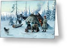 Saami Family At The Hut Greeting Card
