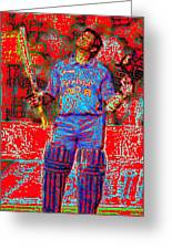 Sachin Tendulkar-100th 100-god Of Criket Greeting Card by Piety Dsilva