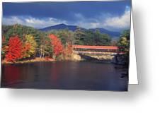 Saco River Covered Bridge Storm Greeting Card